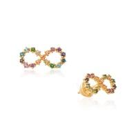 Brinco Infinito Pedras Naturais Coloridas Ouro 18K - MI25713 - MICHELETTI JOIAS
