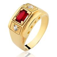 Anel de Ouro 18/750 Masculino com Pedra AN14 - NATALIA JOIAS