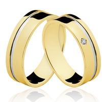 Alianças de Ouro 18k/750 com Diamante AE85 - NATALIA JOIAS