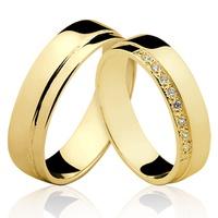 Alianças de Ouro 18k/750 com Diamantes AL100 - NATALIA JOIAS