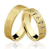 Alianças de Ouro 18k/750 com Diamantes AL106 - NATALIA JOIAS