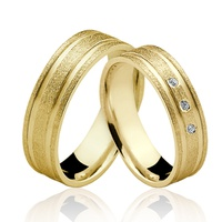 Alianças de Ouro 18k/750 com Diamantes AL129 - NATALIA JOIAS
