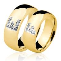 Alianças de Ouro 18k/750 com Diamantes AL145 - NATALIA JOIAS