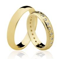 Alianças de Ouro 18k/750 com Diamantes AL23 - NATALIA JOIAS