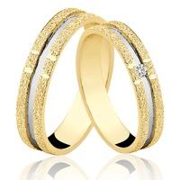 Alianças de Ouro 18k/750 com Diamante AL44 - NATALIA JOIAS