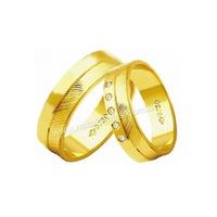 Alianças de Ouro 18k/750 com Diamantes AE185 - NATALIA JOIAS