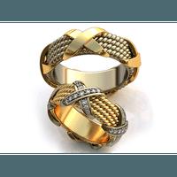 Aliança de Casamento X Cravejada com Diamantes