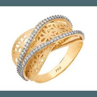 Anel Desenhos Vazado Navete - Diamantes - Ouro 18k
