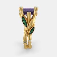 Anel Aro Bambu com Ametista - Ouro 18k