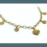 Pulseira em Ouro 18k Corações Vazados