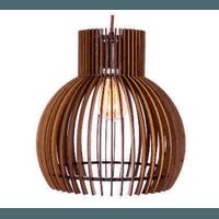 Pendente de Madeira Wood Lamp 31cm 1E27 3D - Jabu Elétrica, Hidráulica e Iluminação