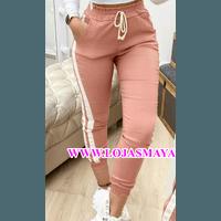 Calça Bengaline C/ Lista Lateral - Rosa Com Branco