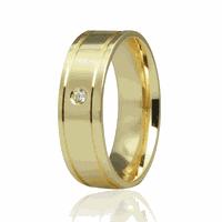 Aliança de Ouro 10K 6mm com Zircônia - 42.0345.2.896 - MICHELETTI JOIAS