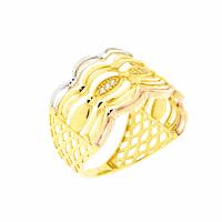 Anel de Ouro 18K Detalhe Filetes 3 Cores e Zirconias - MI208... - MICHELETTI JOIAS