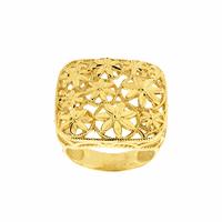Anel Ouro 18K Quadrado Flores Diamantado - MI21387 - MICHELETTI JOIAS