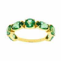 Meia Aliança de Ouro 18K com Topázios Verde - MI22019 - MICHELETTI JOIAS