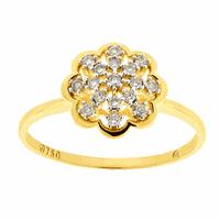 Anel de Ouro Amarelo 18K Flor com Brilhantes - MI23170 - MICHELETTI JOIAS