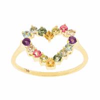 Anel de Coração Pedras Naturais Coloridas Ouro 18K - MI25785... - MICHELETTI JOIAS