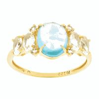 Anel Ouro 18K Pedras Naturais de Topázio Azul e Brancos - MI... - MICHELETTI JOIAS