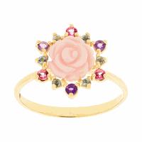 Anel Flor Rosa Ouro 18K Resina e Pedras Naturais - MI25793 - MICHELETTI JOIAS