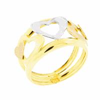 Anel Corações Tricolor Ouro 18K - MI18357 - MICHELETTI JOIAS