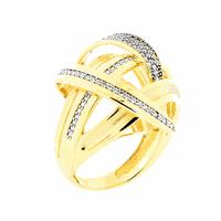 Anel Grande Vazado com Zirconias Ouro 18K - MI19028 - MICHELETTI JOIAS