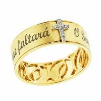 Anel O Senhor É Meu Pastor com Brilhantes Ouro 18K - MI18679 - MICHELETTI JOIAS