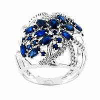 Anel de Ouro Branco 18K com Safiras e Diamantes - MI18951 - MICHELETTI JOIAS