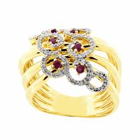 Anel Ouro 18K com Diamantes e Rubi - MI18150 - MICHELETTI JOIAS