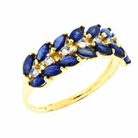 Anel de Ouro 18K Meia Aliança de Safira com Cristal - MI1900... - MICHELETTI JOIAS