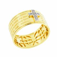 Anel Oração Pai Nosso com Brilhantes Ouro 18K - MI18678 - MICHELETTI JOIAS