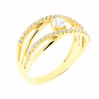 Anel com Pedras de Zircônia Ouro 18K - MI19012 - MICHELETTI JOIAS