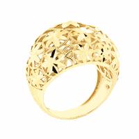 Anel Largo Detalhe Flores Forrado em Ouro 18K - MI16979 - MICHELETTI JOIAS