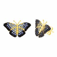 Brinco em Ouro 18K Borboleta Azul com Zircônias - MI19040 - MICHELETTI JOIAS