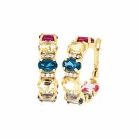 Brinco de Argola Ouro 18K Diversas Pedras Naturais Coloridas... - MICHELETTI JOIAS