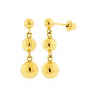 Brinco de Ouro 18K Três Bolas Pendentes - MI3887 - MICHELETTI JOIAS