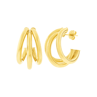 Brinco Argola Tripla 3 Fios Ouro 18K - MI25881 - MICHELETTI JOIAS