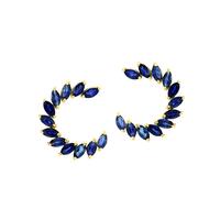 Brinco de Ouro 18K com Pedras de Safiras Navete - MI19343 - MICHELETTI JOIAS