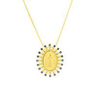 Gargantilha com Medalha Nossa Senhora Aparecida Ouro 18K com... - MICHELETTI JOIAS