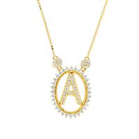 Gargantilha de Letra A com Diamantes em Ouro 18K - MI17728 - MICHELETTI JOIAS