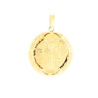 Pingente de Ouro 18K Medalha de São Bento Média Fosca e Poli... - MICHELETTI JOIAS