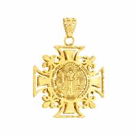 Pingente Ouro 18K São Bento Cruz Malta - MI23094 - MICHELETTI JOIAS