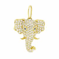 Pingente Elefante com Zirconias em Ouro 18K - MI18215 - MICHELETTI JOIAS