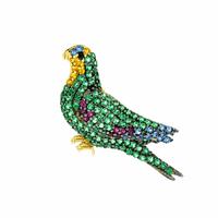 Pingente Papagaio com Zirconias Coloridas Ouro 18K - MI18219 - MICHELETTI JOIAS