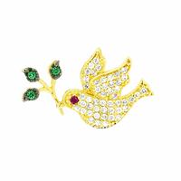 Pingente de Ouro 18K Pombinha com Ramo e Zircônias - MI19138 - MICHELETTI JOIAS