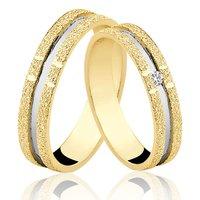 Alianças de Ouro 18k/750 com Diamante AL44