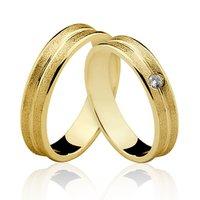 Alianças de Ouro 18k/750 Com Pedra de Diamante AL1...