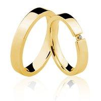 Alianças de Ouro 18k/750 com Diamante AL22