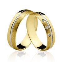 Alianças de Ouro 18k/750 com Diamantes ALP05