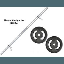 Kit Barra Maciça Recartilhada 120 Cm Com 20 Kg de ... - KLMASTERFITNESS
